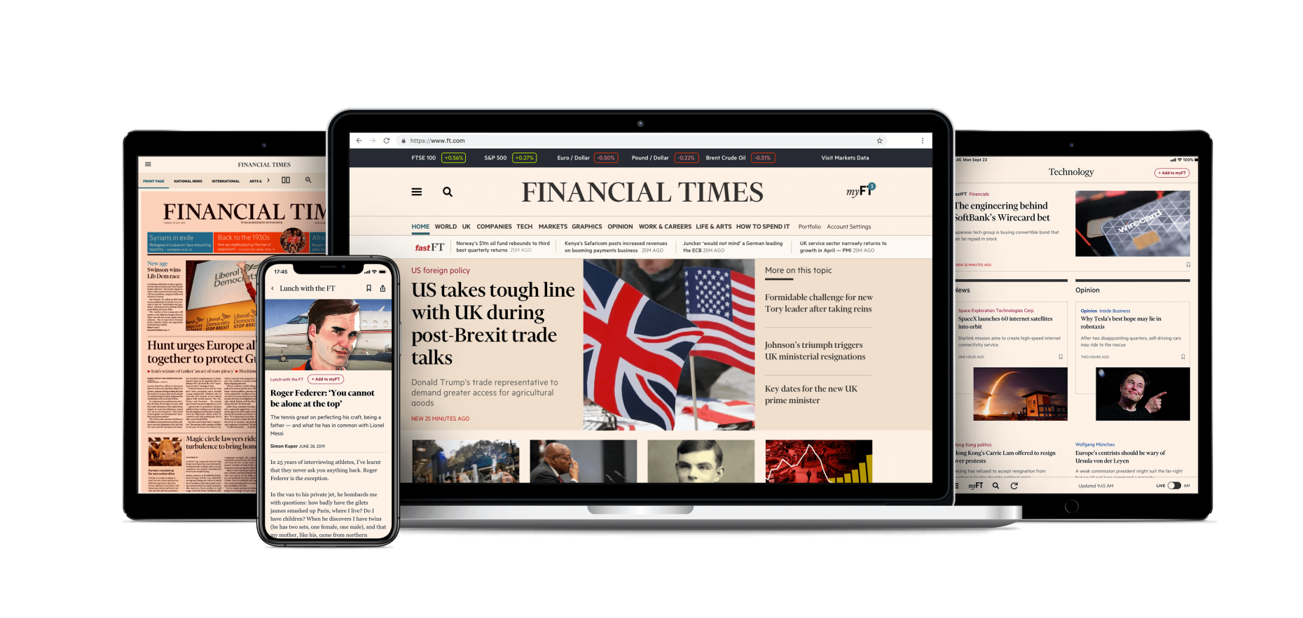 A laptop with the new FT.com loaded